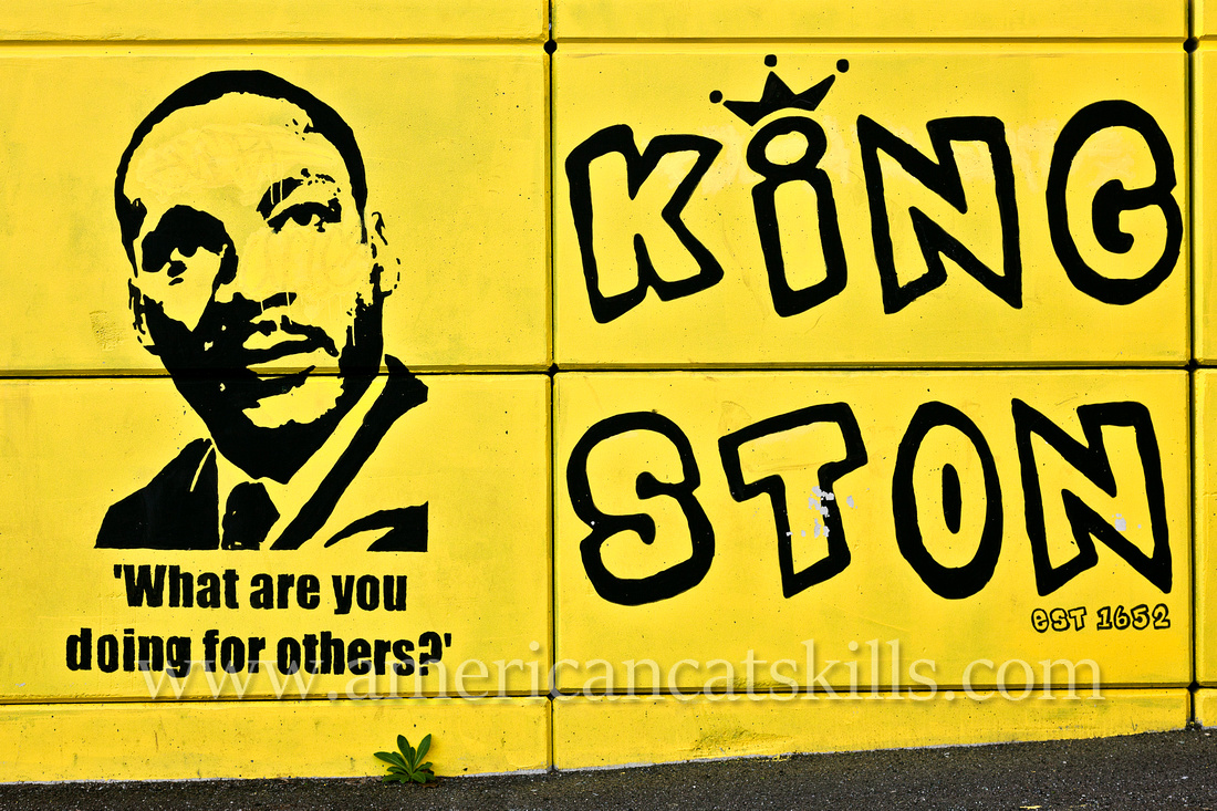 "Located in Kingston, New York, this outdoor art tribute to the civil rights leader Martin Luther King Jr. features his famous quote: ""What are you doing for others?"""