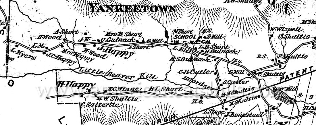 Map of Yankeetown, located in the town of Woodstock in Ulster County, New York