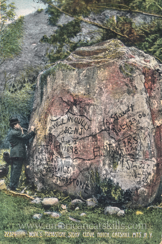 The Devil's Tombstone in the town of Hunter, Greene County is an extremely large sandstone boulder that legend states is the burial site of the Devil.