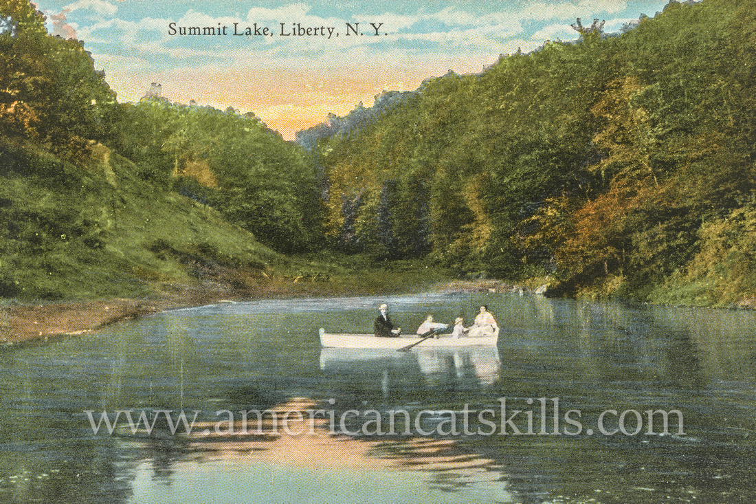 Vintage postcard of Summit Lake in the village of Liberty in Sullivan County, New York.