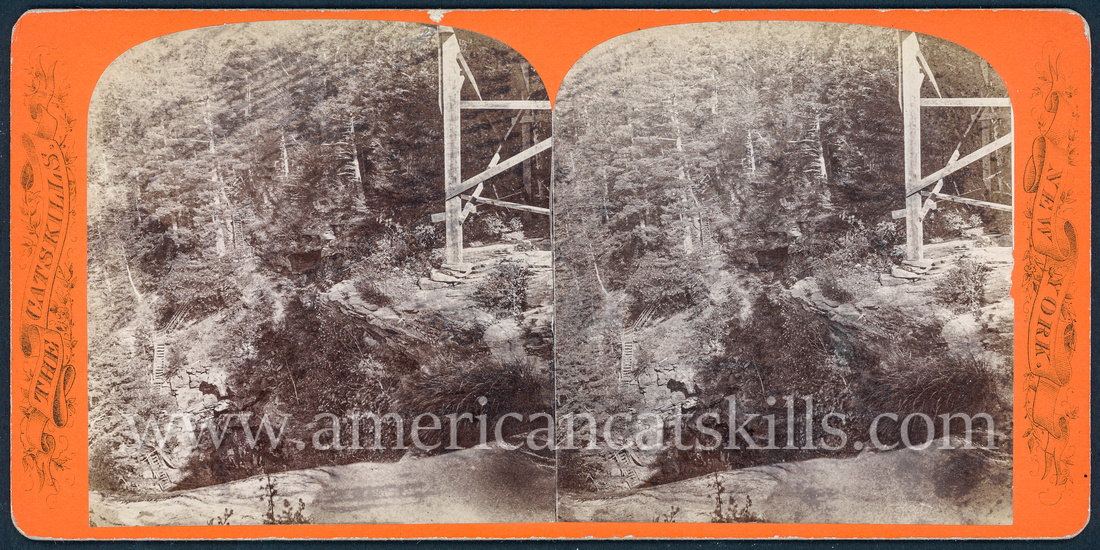 """Vintage John Jacob Loeffler stereoview titled """"Steps leading down to Ravine, as seen from the Spray House"""" from the """"Catskill Mountain Scenery"""" series; second series, # 237."""