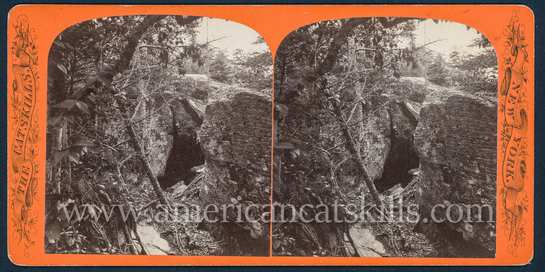 """Vintage John Jacob Loeffler stereoview titled """"Bear's Den"""" from the """"Catskill Mountain Scenery"""" series; no series listed, # 369."""