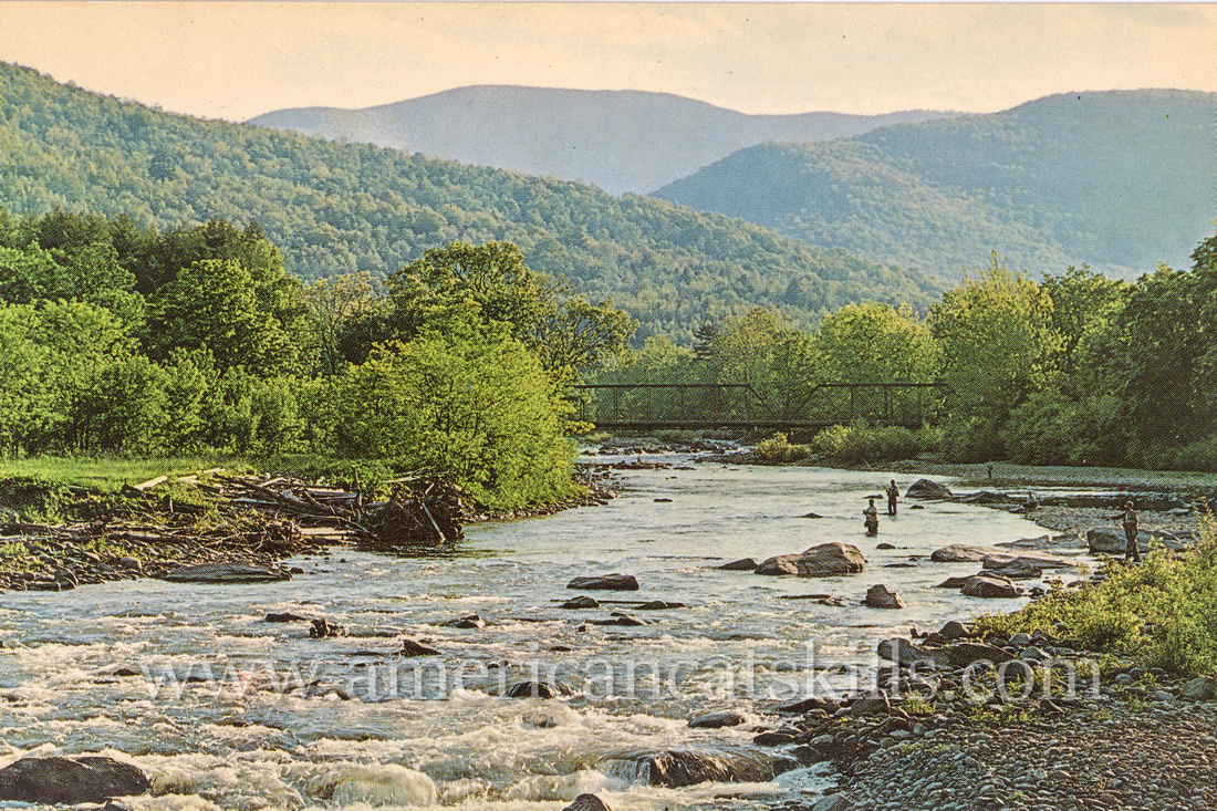 Vintage postcard by photographer Bob Wyer depicting several fishermen on the Esopus Creek near the small hamlet of Phoenicia, New York.