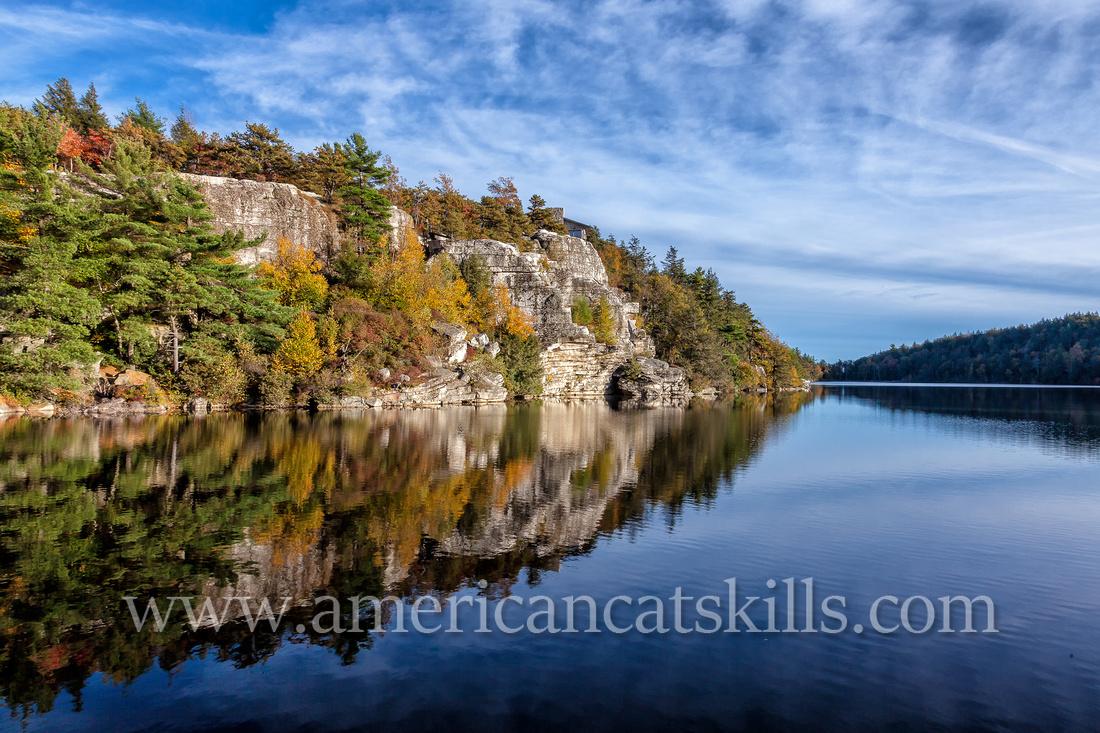 Lake Minnewaska is located high upon the Shawangunk Ridge at the Minnewaska State Park Preserve.