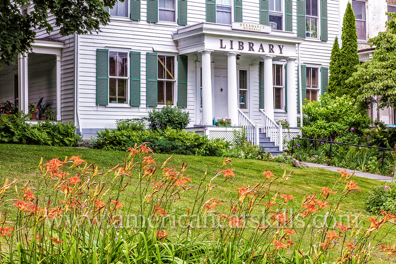 The Heermance Memorial Library, founded by Eleanor Christina Heermance, is located on Ely Street within the Reed Street Historic District in the village of Coxsackie.