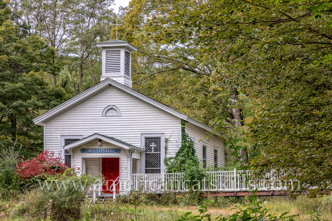 Saint Mark's Church, located along the Delaware River in Lackawaxen, was constructed in 1848 on grounds donated by the Delaware and Hudson Canal Company.