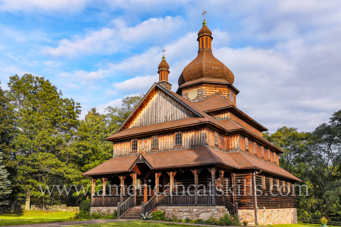 The St. Volodymyr Ukrainian Catholic Church is located only a few miles from the Delaware River at the hamlet of Glen Spey in Sullivan County, New York.