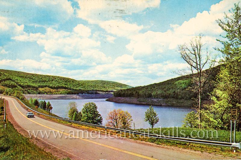 "Vintage postcard photograph title ""Cannonsville Reservoir"" by famed Catskills photographer Bob Wyer of Delhi, New York."