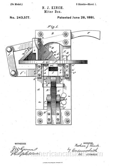 "Nathan Kinch ""Miter Box"" Patent"