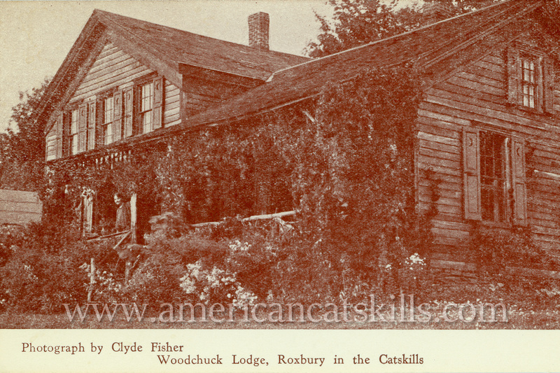 Vintage postcard of Woodchuck Lodge, home of John Burroughs, in Roxbury; published by Clyde Fisher.