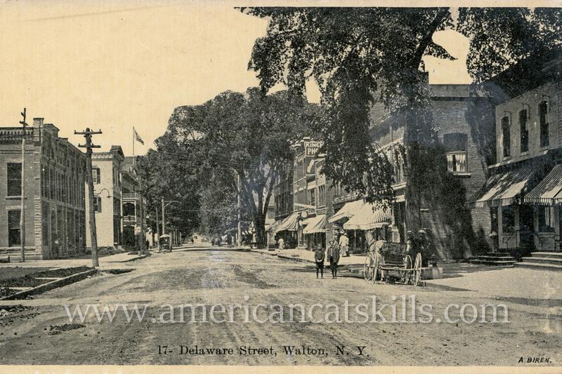 Vintage postcard of the buildings along Delaware Street in Walton, New York.