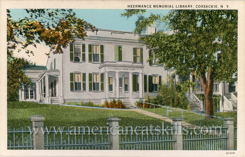 Vintage postcard of the Heermance Memorial Library at Coxsackie, in Greene County, New York.