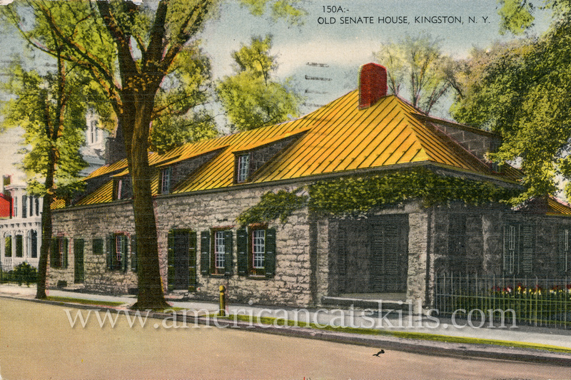 Vintage Catskills postcard depicting the historic Senate House located in the Stockade District of Kingston, New York.