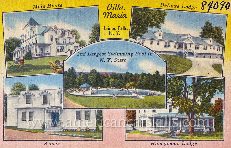 Vintage Catskills postcard of the now abandoned Villa Maria resort at Haines Falls in Ulster County, New York.