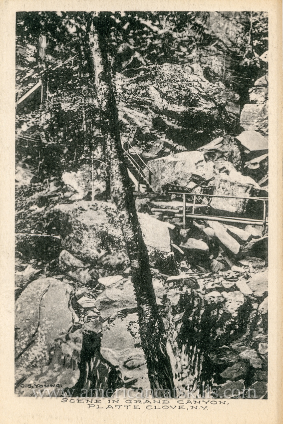 This vintage postcard depicting a rugged scene within Platte Clove was published by G. S. Young, proprietor of the nearby Grand Canyon House.