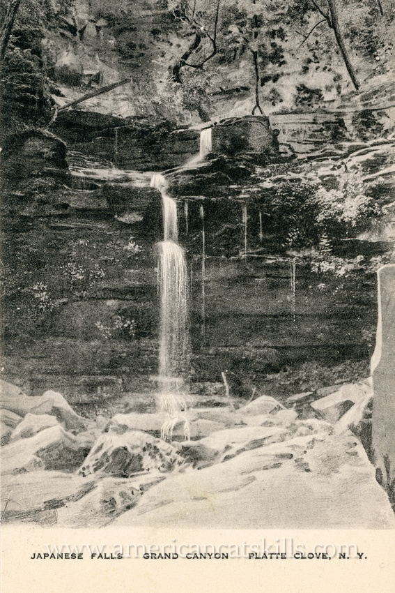 This vintage postcard published by Ida J. Young depicts the beautiful Japanese Falls within Platte Clove.