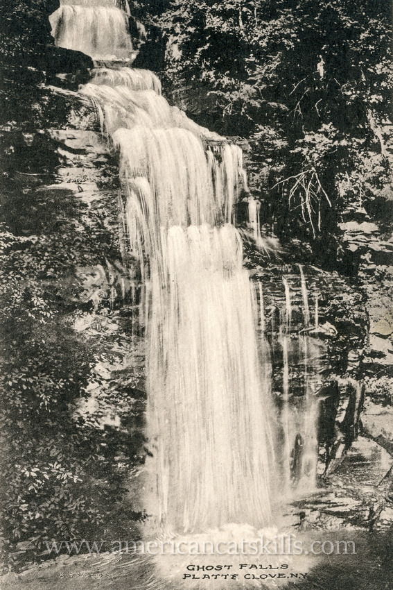 This vintage Catskills postcard published by I. J. Young and W. H. Young depicts Ghost Falls located within Platte Clove.