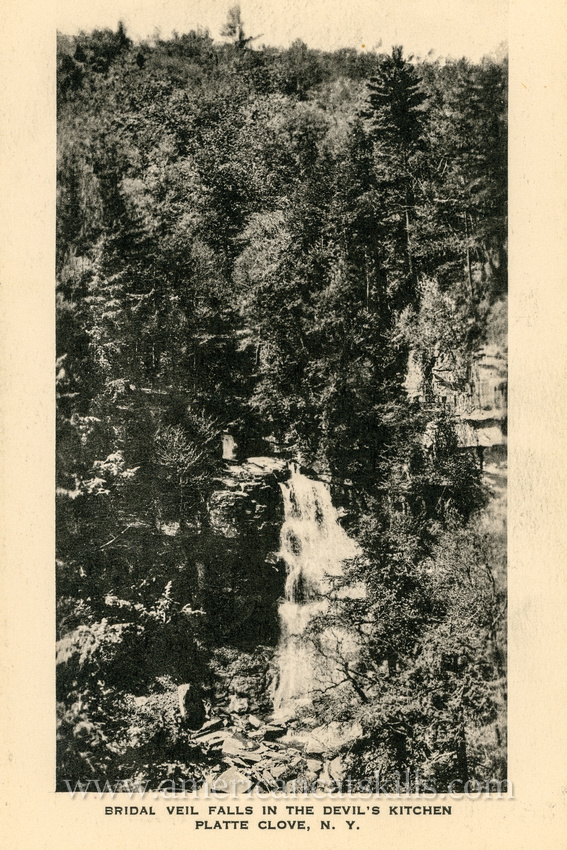 This vintage postcard depicts the towering Bridal Veil Falls at Platte Clove in the northern Catskills.