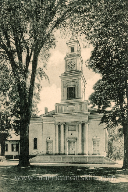 Vintage postcard of the Second Presbyterian Church, now the United Ministry of Delhi, at the village of Delhi in Delaware County, New York.