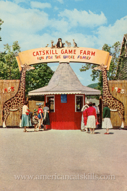 Vintage postcard depicting the entrance of the historic Catskill Game Farm, a former zoo and cultural icon, located at Catskill in Greene County, New York.