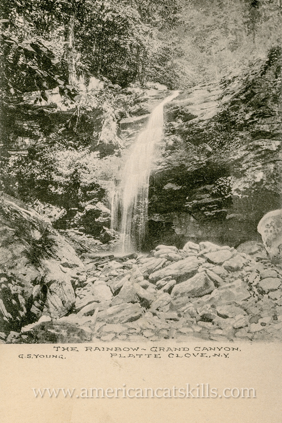 This vintage postcard by George S. Young depicts Rainbow Falls in what was historically known as the Grand Canyon, but is today generally referred to as Platte Clove.