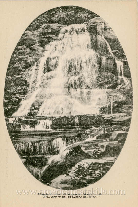 This vintage postcard by George S. Young depicts the aptly named Ghost Falls in what was historically known as the Grand Canyon, but is today generally referred to as Platte Clove.