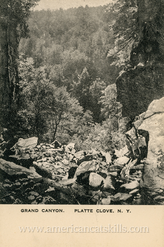 This vintage postcard depicts the extremely rugged rocks and cliffs of what was historically known as the Grand Canyon, but is today generally referred to as Platte Clove.