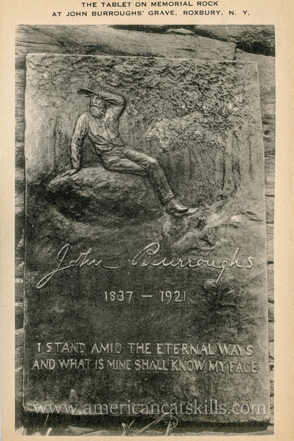 Vintage postcard depicting the bronze plaque attached to Boyhood Rock at the burial site of famed author John Burroughs at Roxbury in Delaware County, New York.