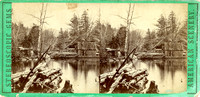 "Vintage E. & H. T. Anthony & Co. stereoview # 45 titled ""The Mill Pond, near the Laurel House – Round Top in the distance – Catskill Mts"" in the ""Gems of American Scenery"" series."