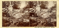 "Vintage E. Anthony stereoview # 400 titled ""Kauterskill Falls – From Below the Second Fall"" in ""The Glens of the Catskills"" series."