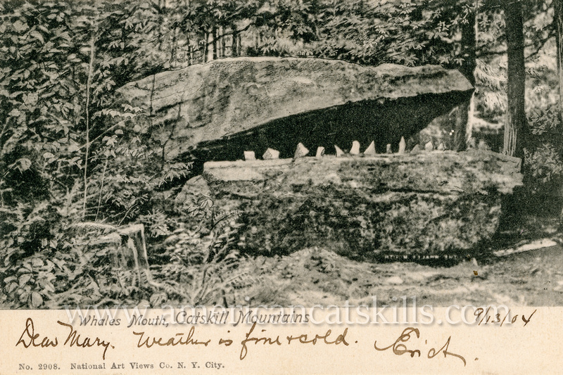 """Vintage postcard titled """"Whales Mouth"""" that depicts a glacial erratic in the Catskills; the erratic has also been known as the Shark's Jaw, but is most popularly known as Alligator Rock."""