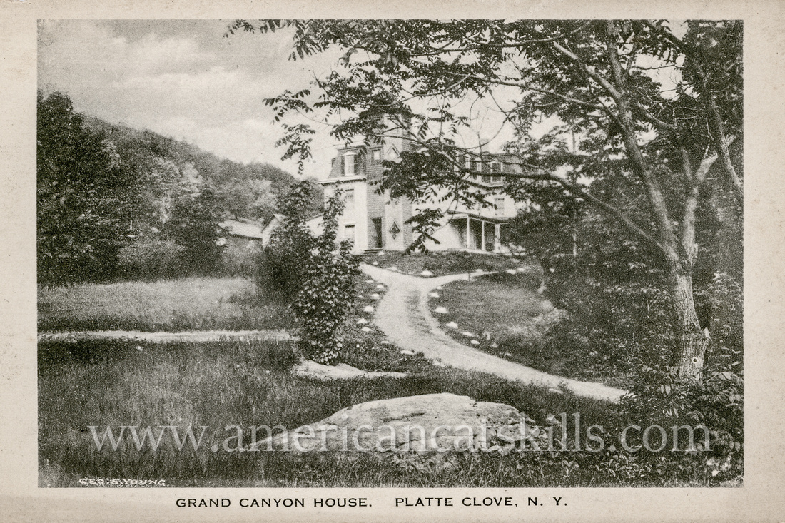 Vintage Catskills postcard depicting the former Grand Canyon House at wild Platte Clove in Greene County, New York.