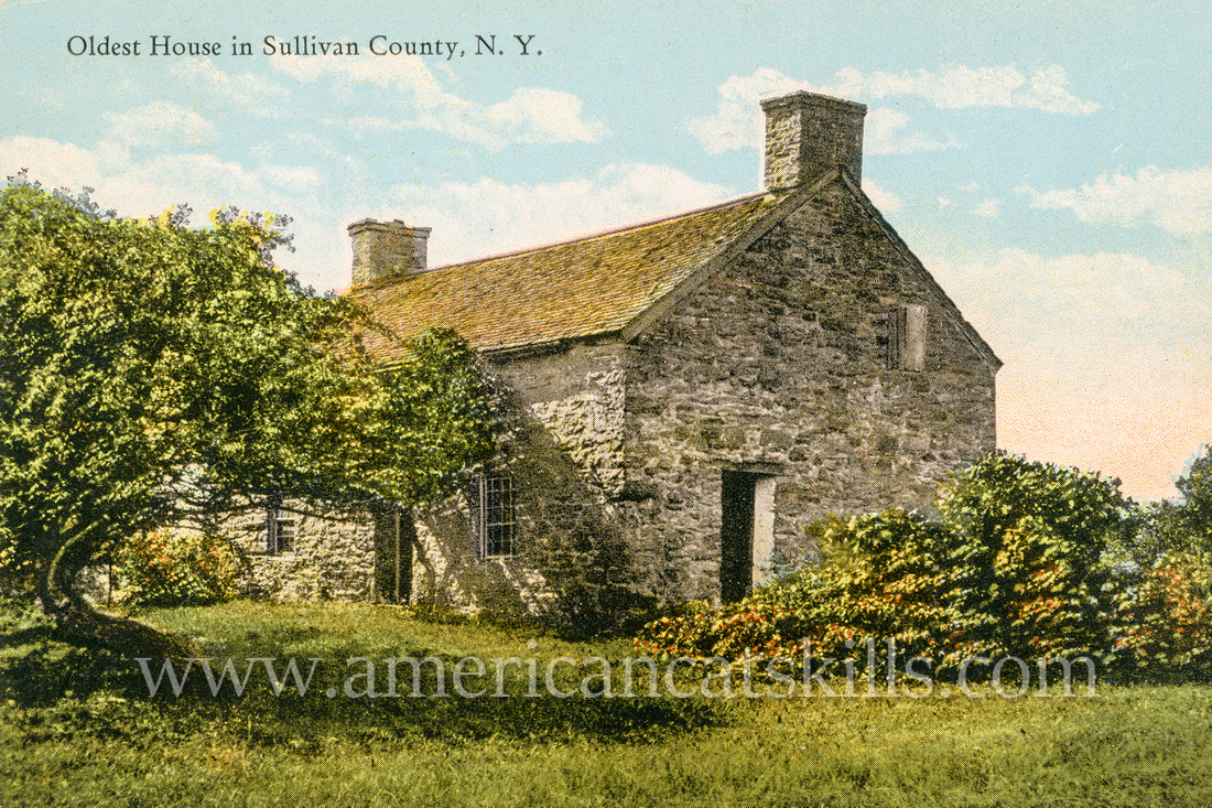 This vintage Catskills postcard taken by well-known photographer Otto Hillig depicts the oldest house in Sullivan County, New York.