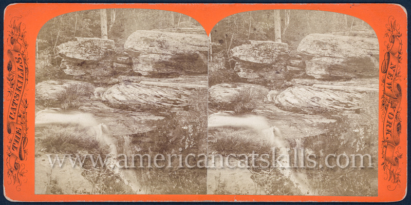 "Vintage John Jacob Loeffler stereoview titled ""Rocks at the head of Cauterskill Fall"" from the ""Catskill Mountain Scenery"" series; Second series, # 234."