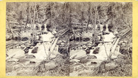 "Vintage E. & H. T. Anthony stereoview # 164 titled ""Bastion Fall and Terrace Cascade, Kauterskill Glen – Catskill Mts."" from ""The Artistic Series."""