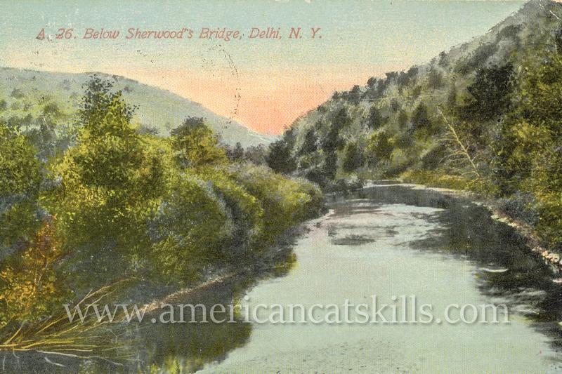 Vintage postcard by Merrill and Humphries of the Delaware River below Sherwood's Bridge in Delhi, New York.