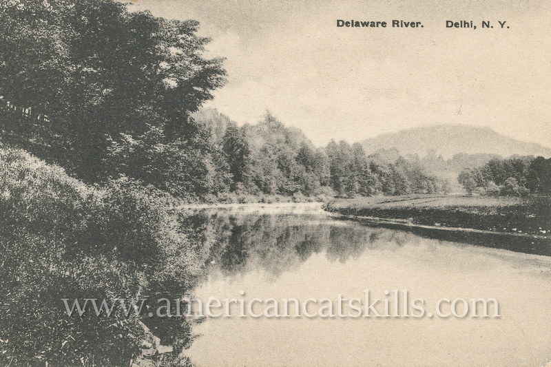 Vintage postcard depicting a scenic spot along the Delaware River in Delhi, New York published by the partnership of Merrill & Humphries.