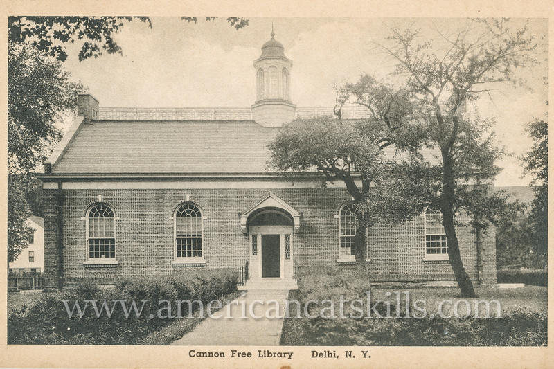 Vintage photograph by P. B. Merrill of the Cannon Free Library in Delhi, New York.