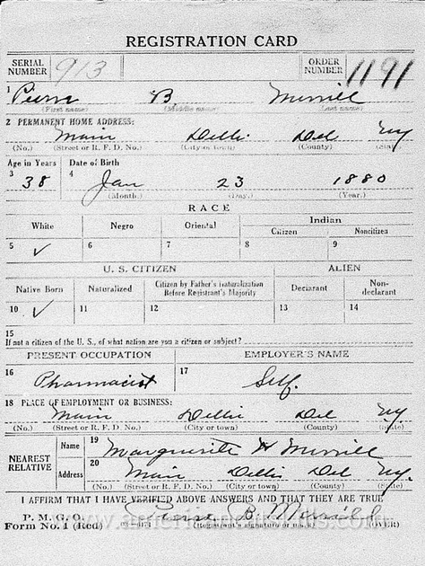 Pierre B. Merrill, World War I Registration Card