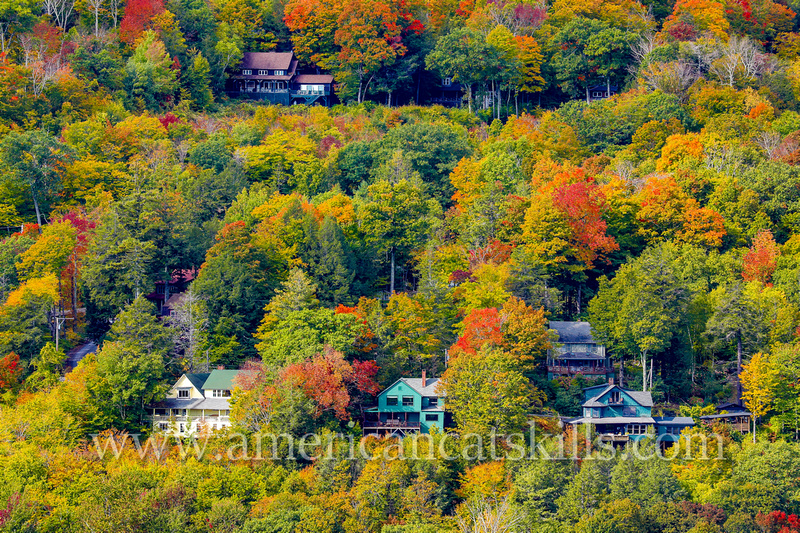 The private residential community of Twilight Park at Haines Falls in the northern Catskills are set at the head of Kaaterskill Clove amidst brilliant autumn colors.