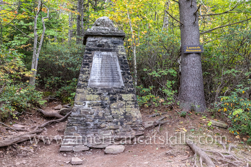 The Layman Monument is dedicated to Frank D. Layman, who lost his life on August 10, 1900 while fighting a fire on South Mountain in the Catskills.
