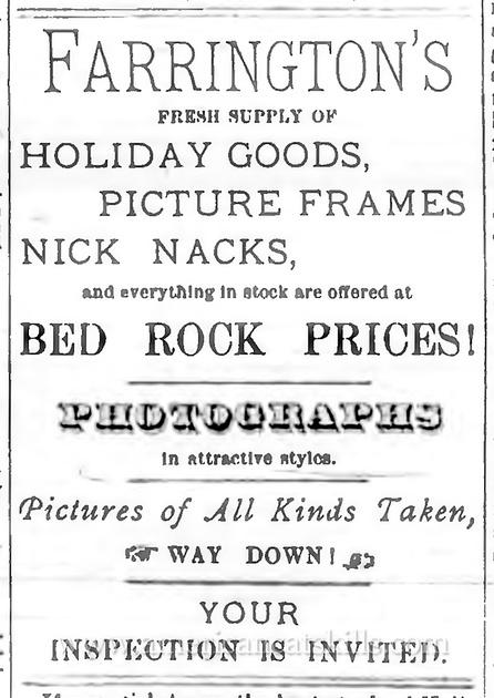 Farrington's advertisement. Delaware Republican. December 13, 1879.