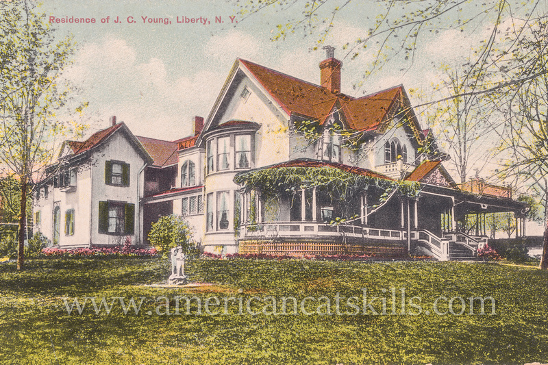 """Well-known photographer Otto Hillig published this vintage postcard titled """"Residence of J. C. Young, Liberty, N.Y."""""""