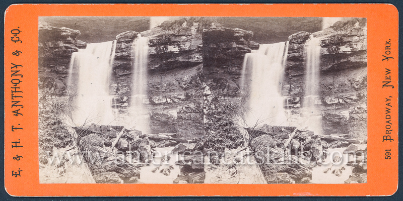 "Vintage E. & H. T. Anthony & Co. stereoview # 9052 titled ""The Lower Kauterskill Fall – 80 Feet High"" from ""The Glens of the Catskills"" series."