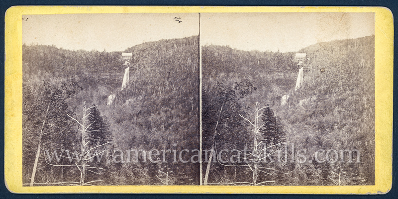 "Vintage E. & H. T. Anthony & Co. stereoview # 9050 titled ""The Laurel House and Kauterskill Falls from Prospect Rock"" from ""The Glens of the Catskills"" series."