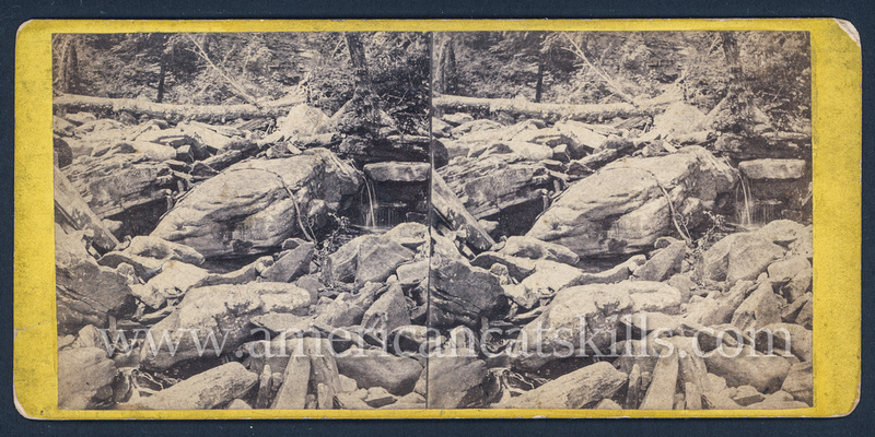 "Vintage E. & H. T. Anthony & Co. stereoview # 4193 titled ""Ravine, below Haines Fall"" from ""The Glens of the Catskills"" series."