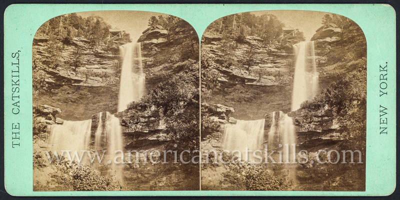 "Vintage John Jacob Loeffler stereoview titled ""Cauterskill Falls"" within the Catskill Mountain Scenery set; First Series, # 202."