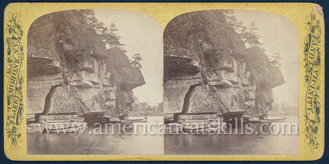 "Vintage John Jacob Loeffler stereoview titled ""Pine Bluff, looking North"" from the ""Scenery of Lake Mohonk"" series; First Series, # 11."