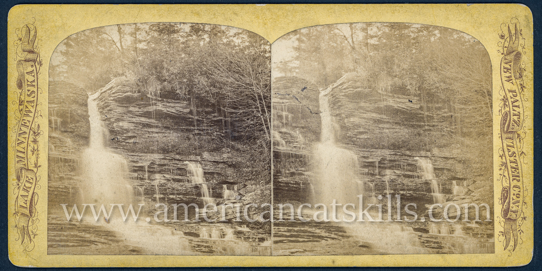 "Vintage John Jacob Loeffler stereoview titled ""Peterskill Falls"" from the ""Scenery of Lake Mohonk and Vicinity"" series; no series listed, no number listed."
