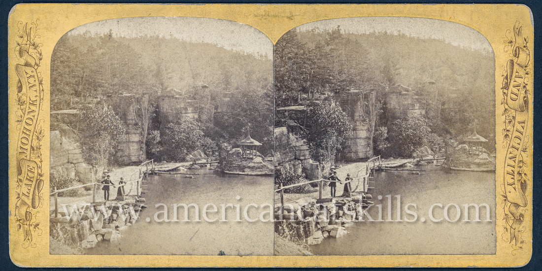 "Vintage John Jacob Loeffler stereoview titled ""The Bridge"" from the ""Scenery of Mohonk Lake and Vicinity"" series; no series listed, # 20."